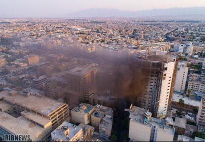 تصاویر هوایی آتش سوزی هتل آسمان شیراز