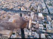 فیلم هوایی آتش سوزی هتل آسمان شیراز