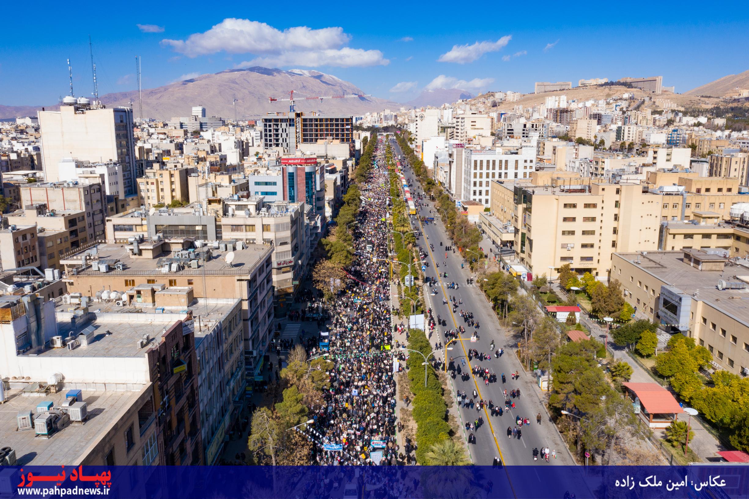تصویرهوایی؛ راهپیمایی 22 بهمن در شیراز