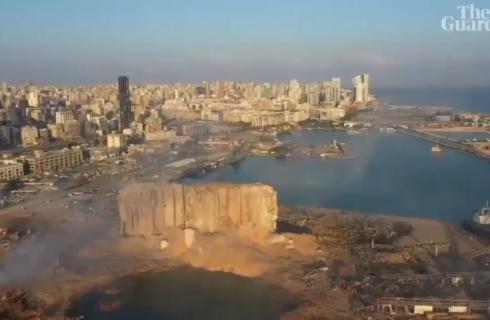 فیلم| نمای هوایی بیروت پس از انفجار عظیم